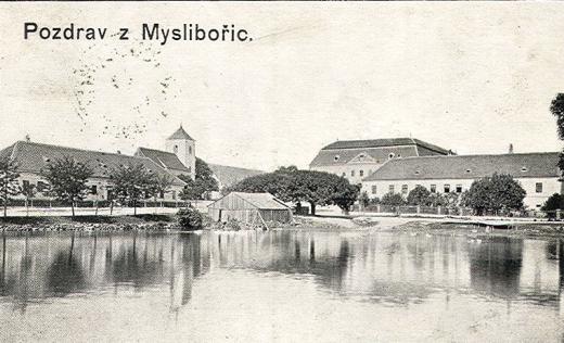 Pohled na Myslibořice roku 1915